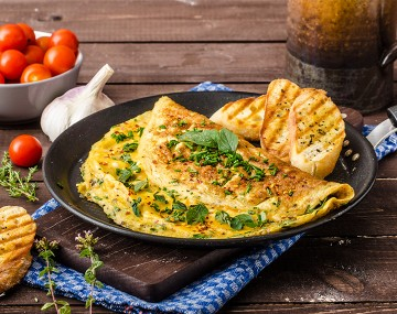 High protein omelet with fine herbs